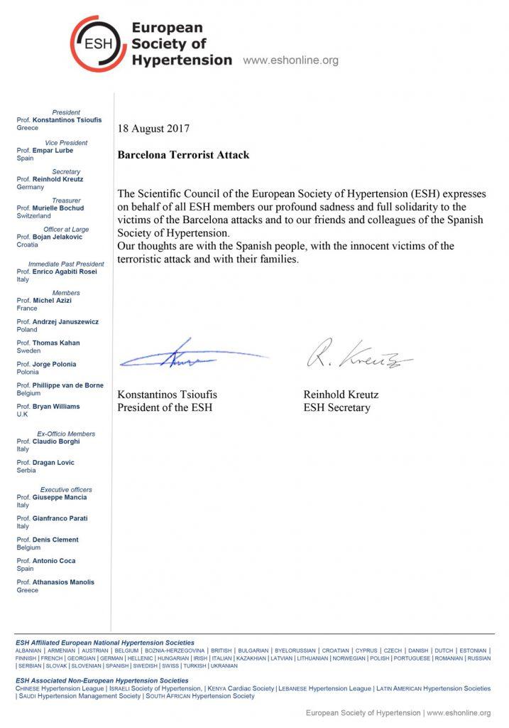 Carta de solidaridad con las víctimas de la Sociedad Europera de Hipertensión